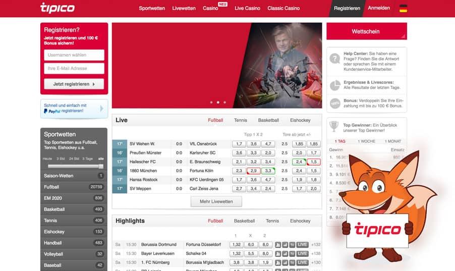 Startseite von Tipico