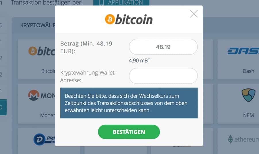 Sportwetten Einzahlung mit BitCoin