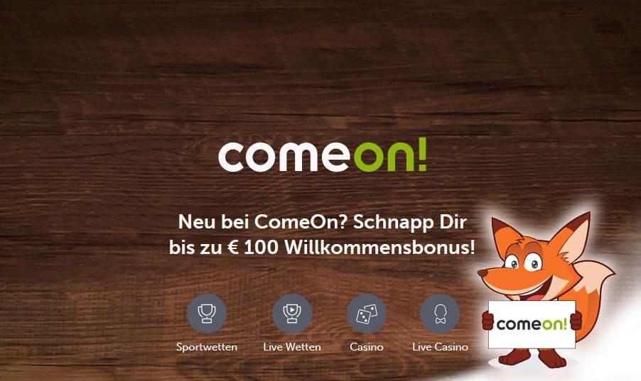 Startseite von Comeon