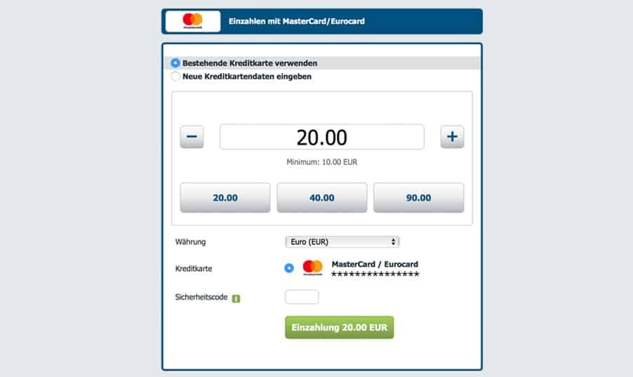 Einzahlung mit Kreditkarte