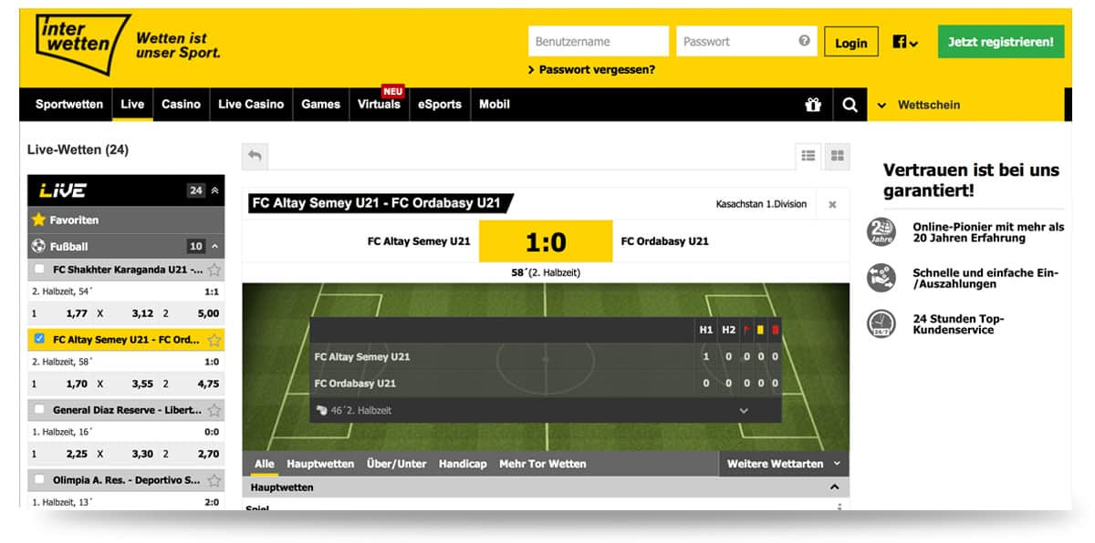 Interwetten Live Center