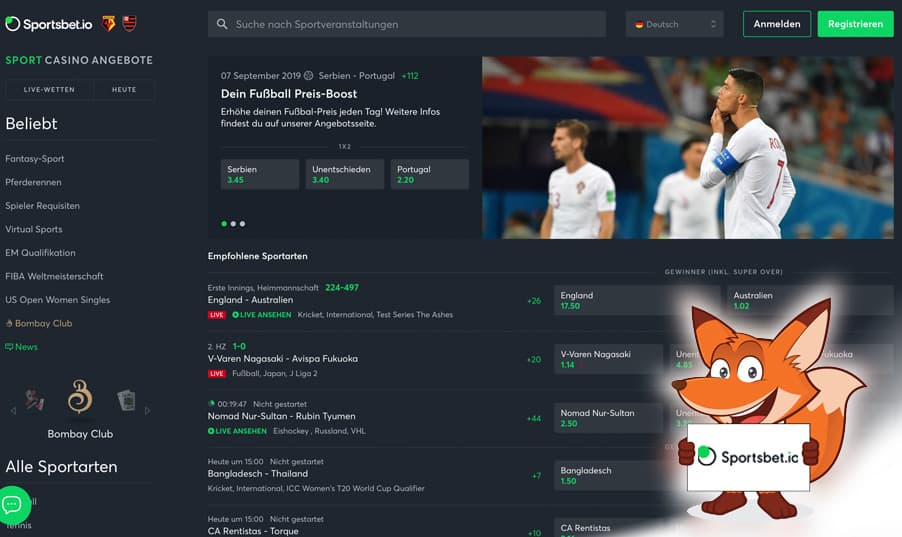 Sportsbet.io Startseite