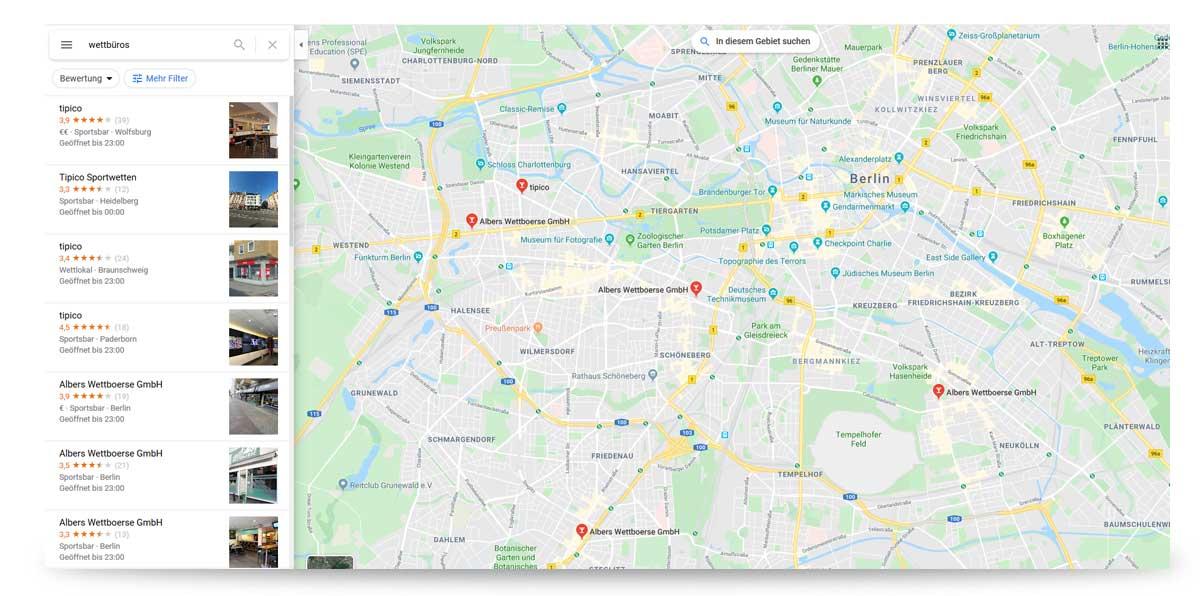 Wettbüros finden - Google hilft