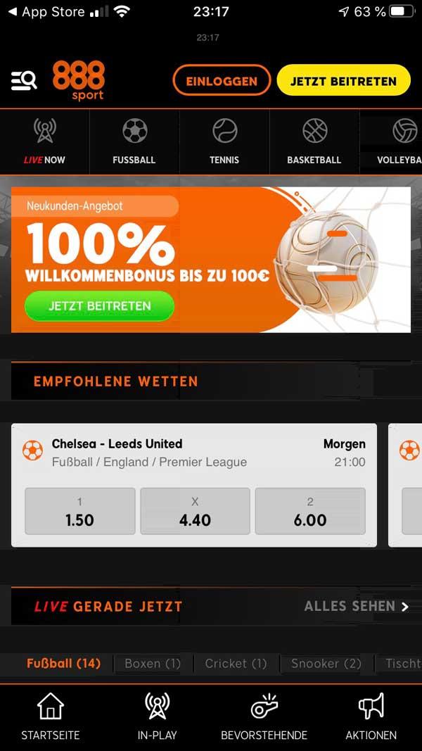 888sport App Startbildschirm