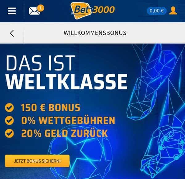 bet3000 App Bonus