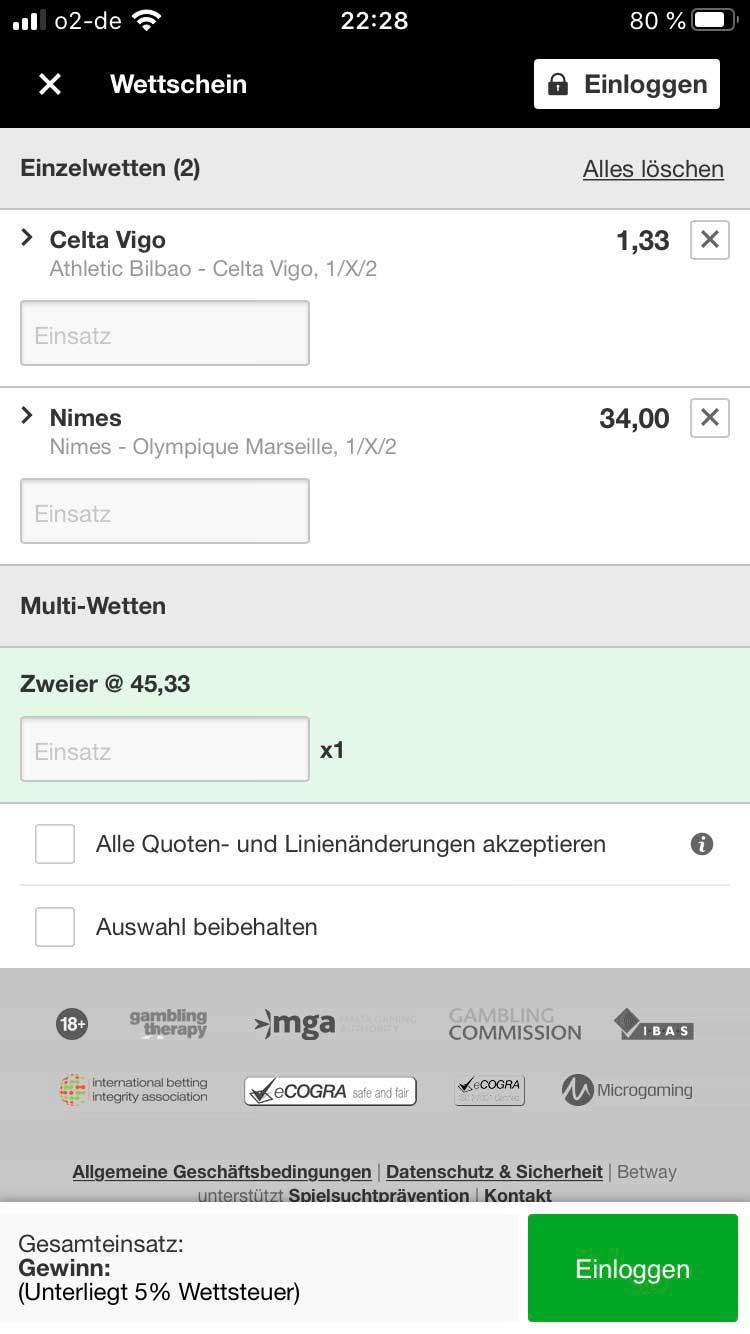 Betway App Wettschein