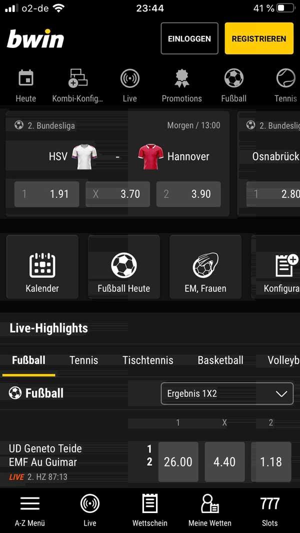 Bwin App Startbildschirm