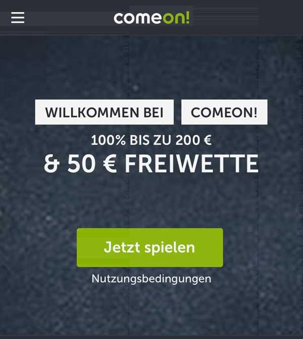 Comeon App Bonus