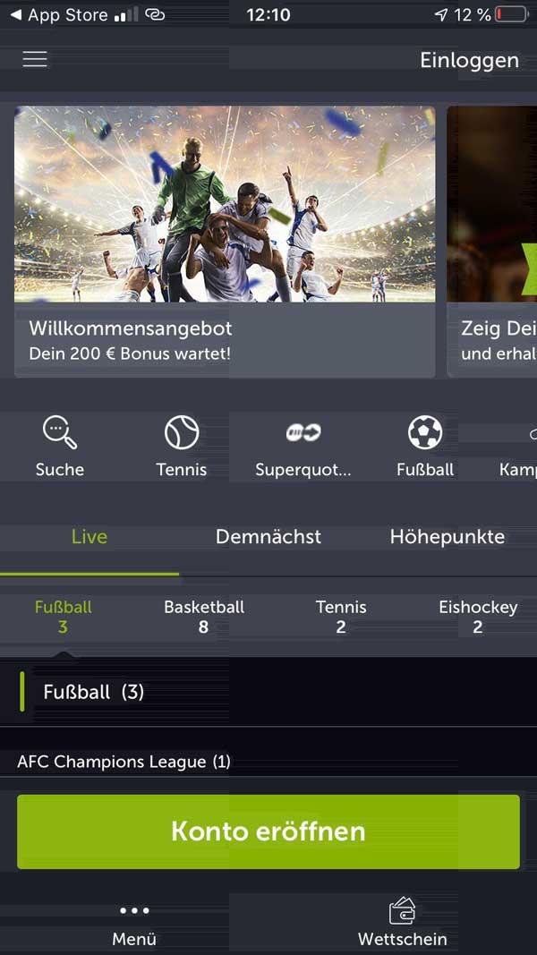 Startseite Comeon App