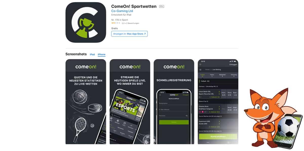 Comeon Sportwetten App