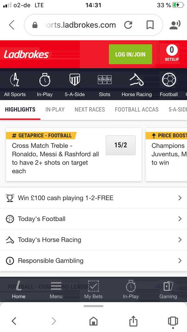 Ladbrokes App Startseite