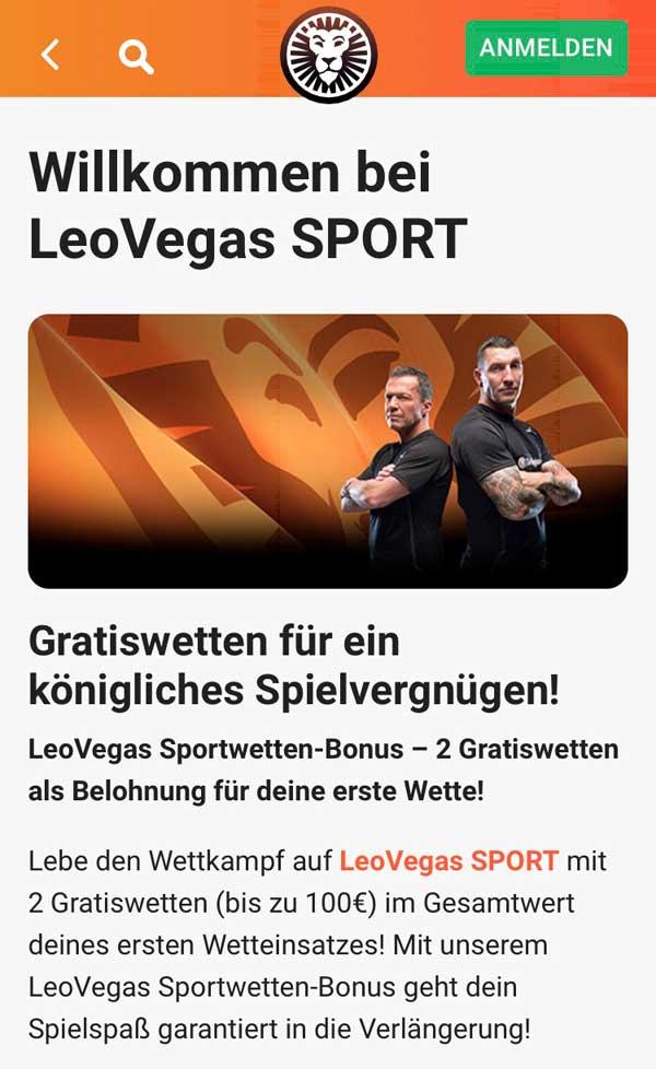 Leo Vegas Sportwetten App Bonus