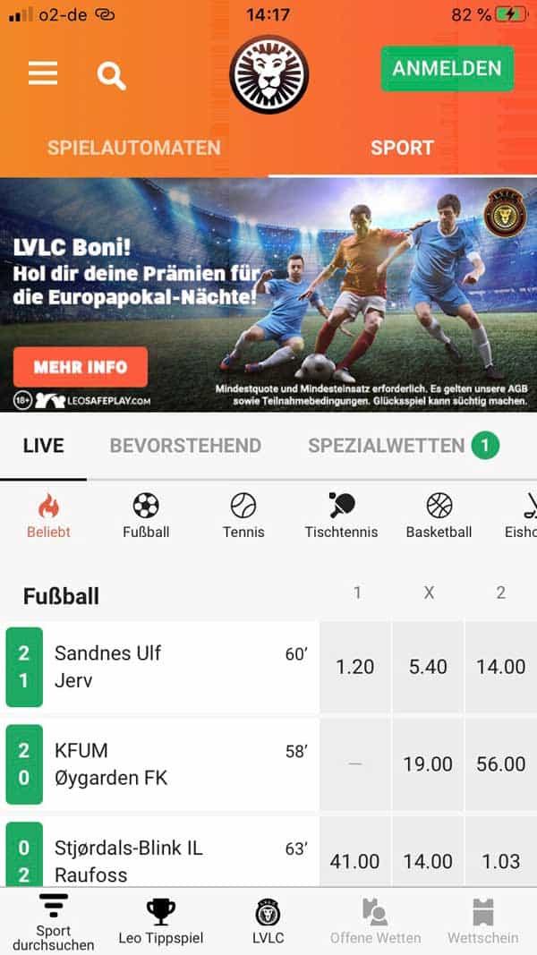 Leo Vegas Sportwetten App Startseite