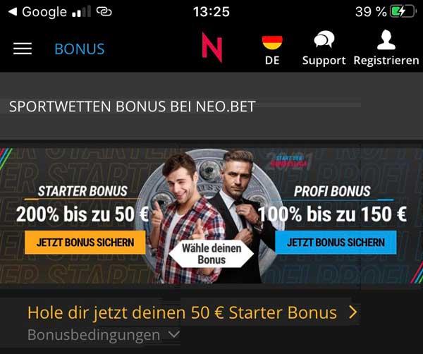 Neobet App Bonus