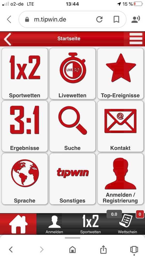 tipwin Web App Startseite