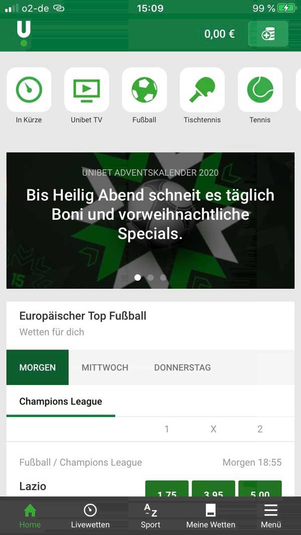 Unibet App Startbildschirm